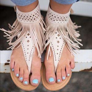 Shoes - Boho style flat tassel Sandals **NWT**